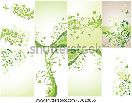 Floral green banners. Set. - stock vector