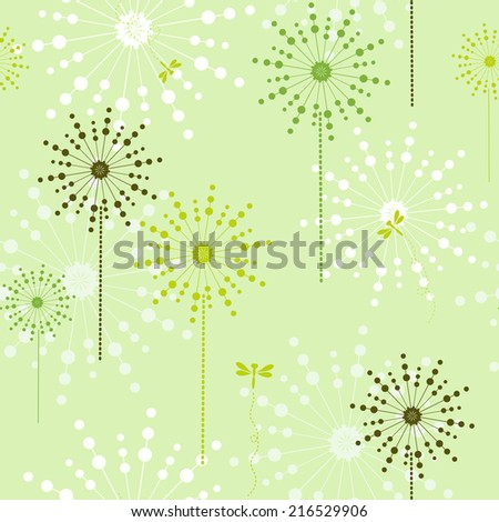 Floral green ecological seamless for design  wrapping paper, scrap booking, textiles, sites - stock vector