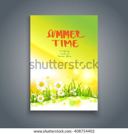 Floral green summer template. Nature template for design banner,ticket, leaflet, card, poster and so on. - stock vector