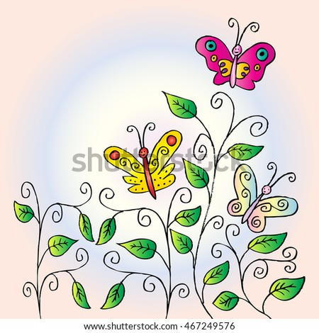 Floral greeting card. Doodle flower and butterfly elements.