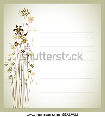 floral greeting card in gradient classic background - stock vector
