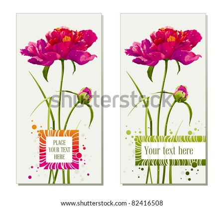 Floral greeting cards with red peony flower and bud - stock vector