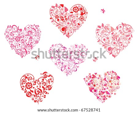 Floral greeting heart shapes - stock vector