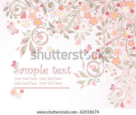 Floral greeting postcard - stock vector