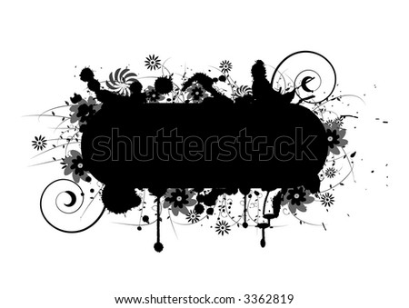 Floral grunge design with lots of room for text - stock vector