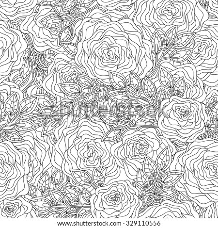 Floral hand-drawn seamless pattern. Doodle vector background. - stock vector