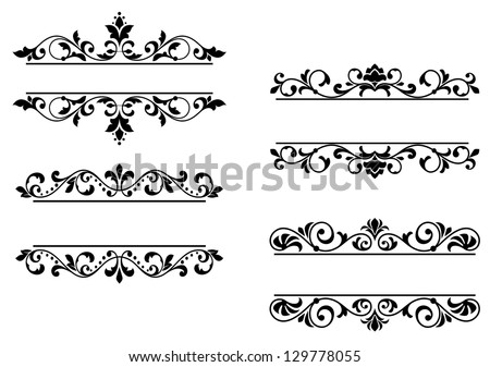 Floral headers and borders in retro style. Jpeg version also available in gallery