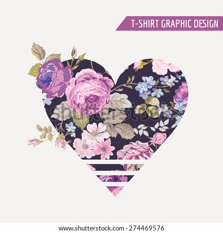 Floral Heart Graphic Design - for t-shirt, fashion, prints - in vector - stock vector