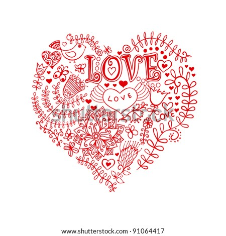 Floral heart. Heart made of flowers.Doodle Heart - stock vector