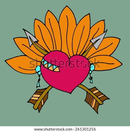 Floral heart. Pattern heart. Doodle Heart. Creative heart. - stock vector
