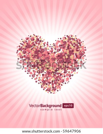 Floral heart shape vector background - stock vector