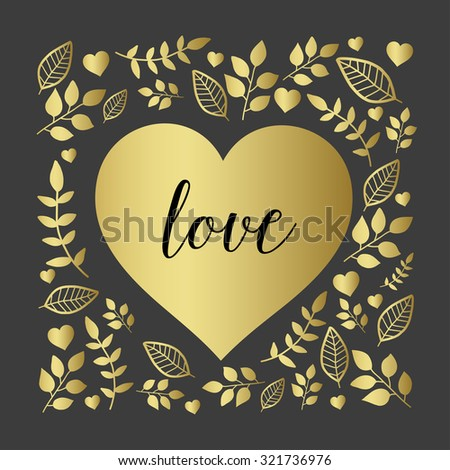 Floral heart with nature brunch and leaf, black and gold - stock vector