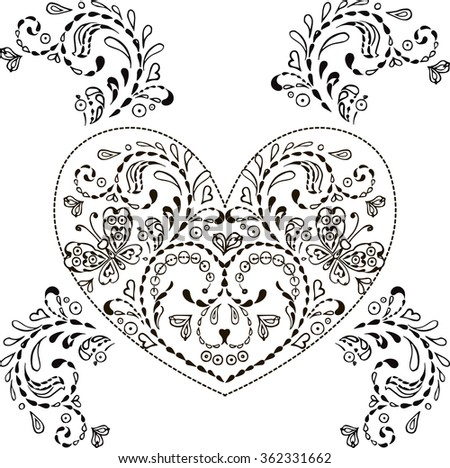 Floral heart with ornamental elements  for printing postcards and T-shirts isolated on white background.