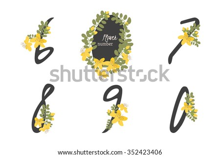 Floral  herb St. John's wort collection numbers in vintage color. Six, seven, eight, nine, zero- signs vector