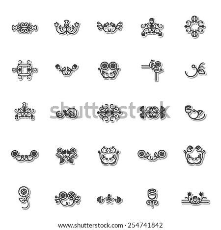 Floral icon set 6 - stock vector