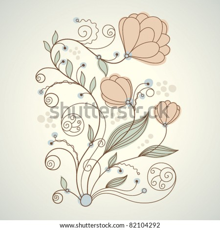 floral illustration, greeting card - stock vector