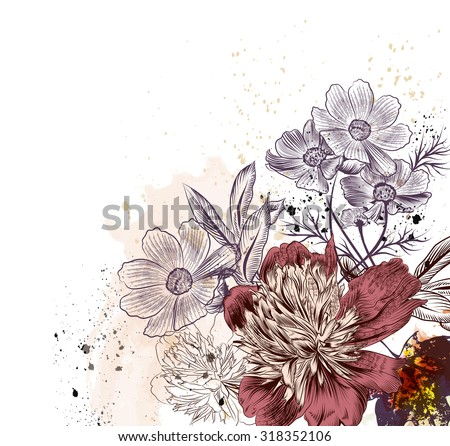 Floral illustration with peony and cosmos  flowers - stock vector