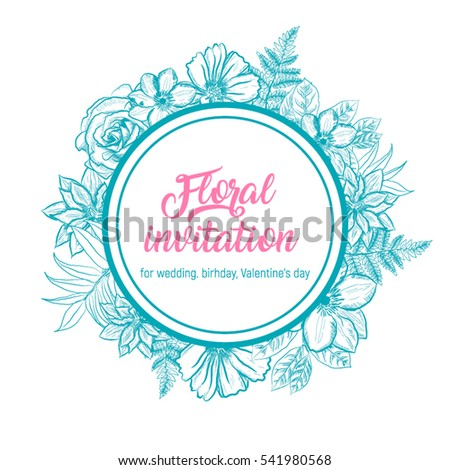Floral invitation card wedding birthday valentines stock vector floral invitation card for wedding birthday or valentines day frame round shape with stopboris Image collections