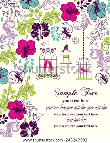 floral invitation card with birdcage