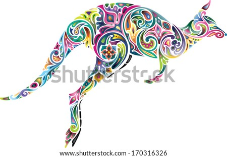 Floral kangaroo. - stock vector