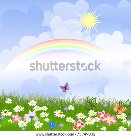Floral landscape with rainbow - stock vector