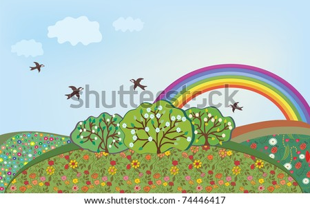 Floral landscape with rainbow cartoon - stock vector