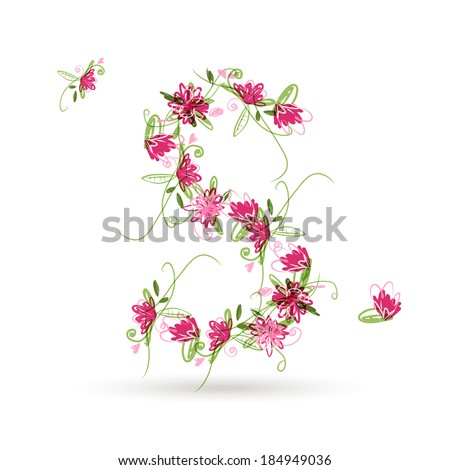 Floral letter S for your design - stock vector