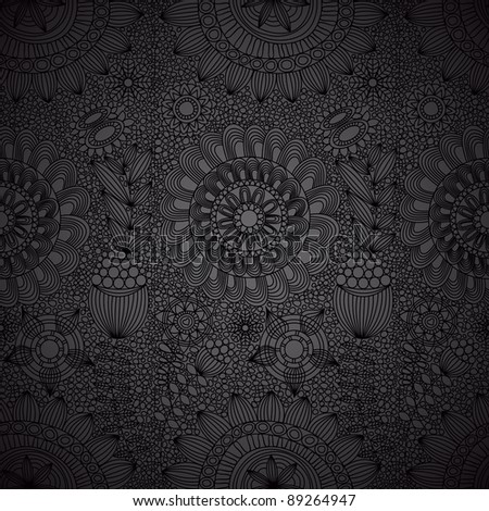 Floral line work seamless pattern - stock vector