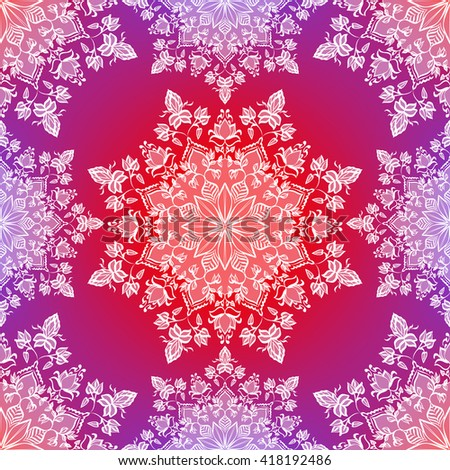 Floral mandala. Seamless pattern. Indian, Islamic, Arabic motifs. Fabric or wrapper design. Ethnic elements. Vector illustration. - stock vector