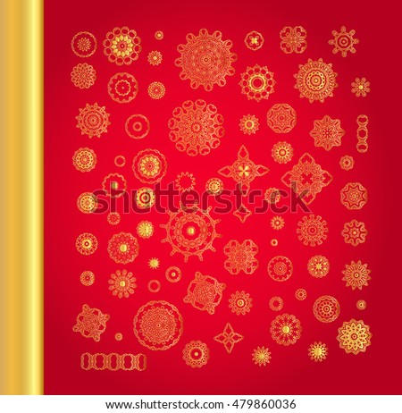 Floral mandalas set. Golden vector snowflakes on red background