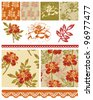 Floral Marigold Patchwork Seamless Vector Patterns and Icons.  Use to create textile patches to make quilt pieces or other various craft projects. - stock vector
