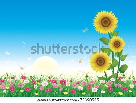 floral meadow - stock vector