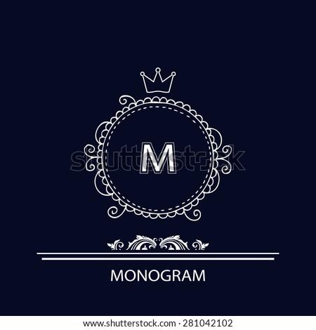 Floral monogram design template or elegant logo design blue art - stock vector