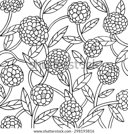 Floral motive. Simple elegant flowers, leaves and stems. May be used as a card, background or for coloring... Dahlias, daisies, buttercups, asters, roses. - stock vector