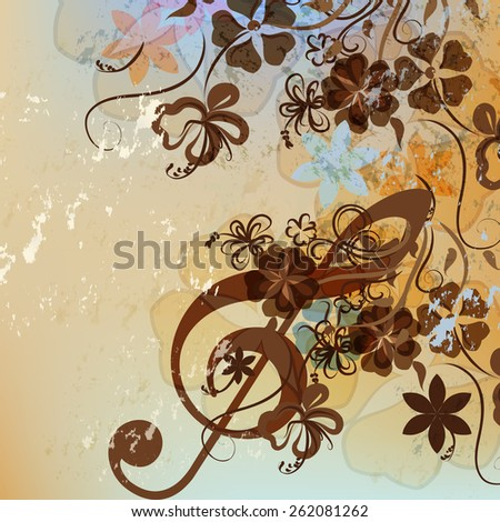 Floral music background with treble clef and flowers - stock vector