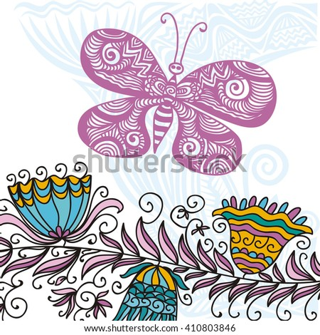 Floral nature pattern card with beautiful butterfly vector illustration - stock vector