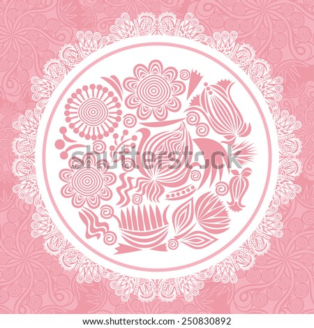Floral nature pattern card with round design element vector illustration - stock vector