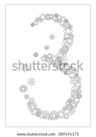 floral number 3 number three from flowers coloring page vector illustration diy postcard with