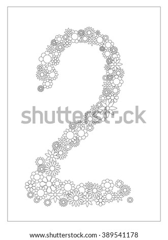 floral number 2 number two from flowers coloring page vector illustration diy postcard with