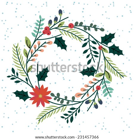 Floral or Botanical Christmas Wreath - stock vector