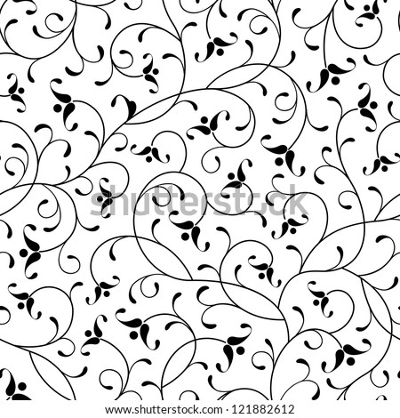floral oriental black isolated seamless background - stock vector