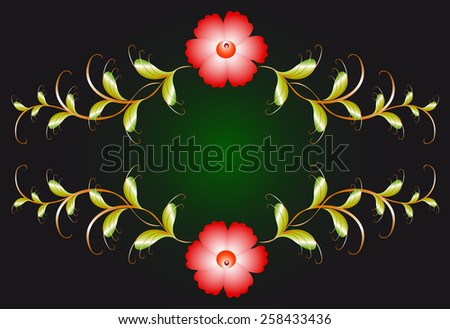 Floral ornament and red flowers on dark. EPS10 vector illustration. - stock vector