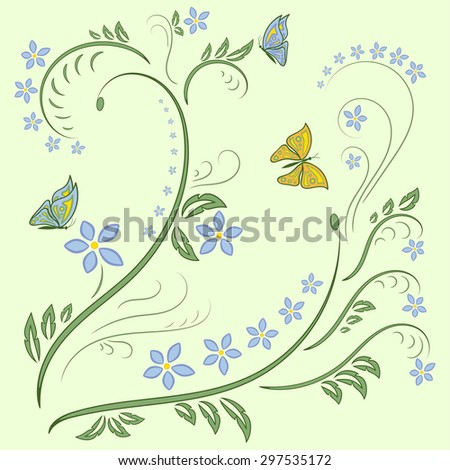 Floral ornament background with butterfly on light green background. Flowers Illustration Design Elements. Beautiful card with tree branches, foliage, butterfly and fantastic flowers. Vector - stock vector