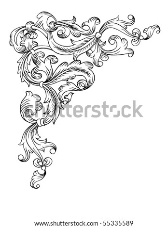 Floral ornament corner element, simulates engraving. Vector. Based on the typography graphics beginning of the end of 19 century. - stock vector