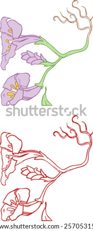 Floral ornament, double trumpet flower with stem, roots and one bud with added (separate) line art.