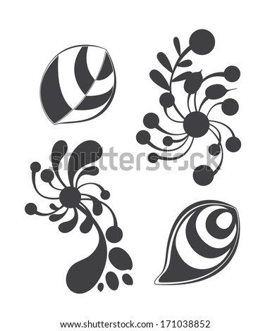 Floral ornament elements collection isolated on white background. Elements can be used for wallpapers, surface textures, pattern fills and web page backgrounds - stock vector