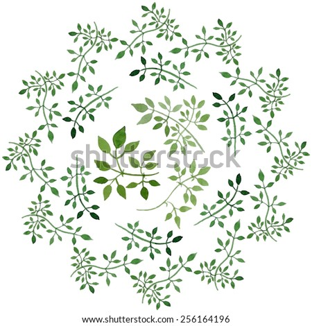 floral ornament ideal for wedding invitations, cards etc. leaves watercolor