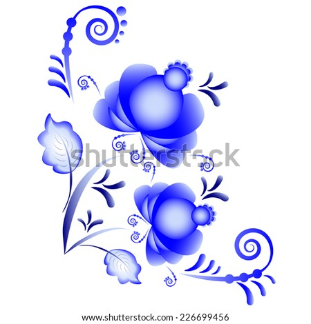 Floral ornament in Gzhel style. Russian folklore. Blue flowers isolated on white. Vector illustration