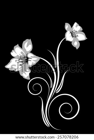 Floral ornament on a black background. Vector illustration  - stock vector