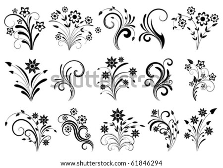 Floral ornament on a white background - stock vector